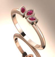 Astraea Echo - Rubies & Rose Gold Ring
