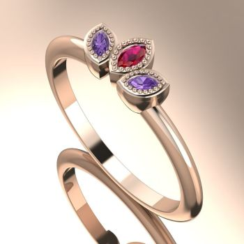 Astraea Echo - Violet Sapphires, Ruby & Rose Gold Ring
