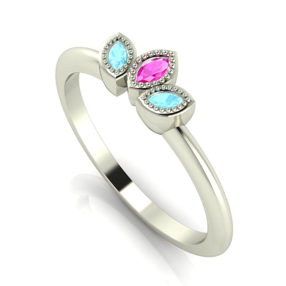 Astraea Echo - Aquamarines, Pink Sapphire & White Gold Ring