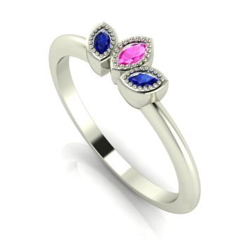 Astraea Echo - Pink & Blue Sapphire & White Gold Ring