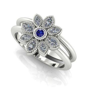 Astraea Liberty & Echo Wedding & Engagement Ring Set - White Gold , Sapphire With Diamonds