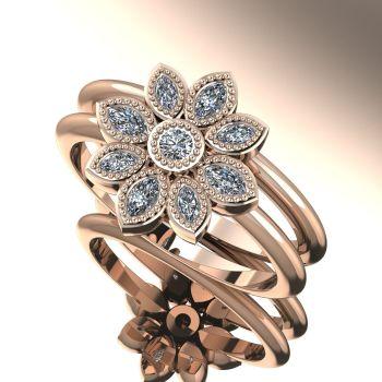 Astraea Liberty & Echo Wedding & Engagement Ring Set - Rose Gold With Diamonds