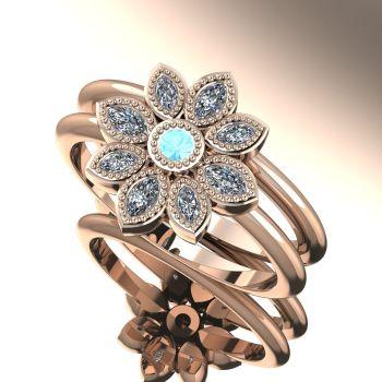 Astraea Liberty & Echo Wedding & Engagement Rose Gold Ring Set - Aquamarine With Diamonds