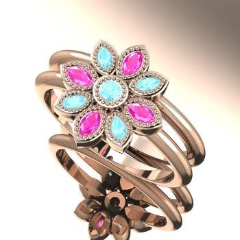 Astraea Liberty & Echo Wedding & Engagement Ring Set - Aquamarines With Pink Sapphires & Rose Gold