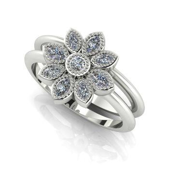 Astraea Liberty & Echo Wedding & Engagement Ring Set - White Gold With Diamonds