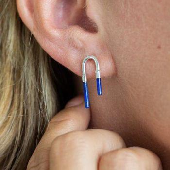 Lapis Lazuli Arch Earrings