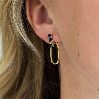 Onyx Gold Loop Earrings