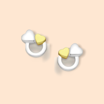 Circle of Life Gold and Silver Hearts Earrings