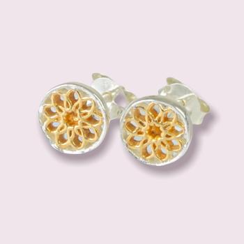 Gold & Silver Mandala Earrings