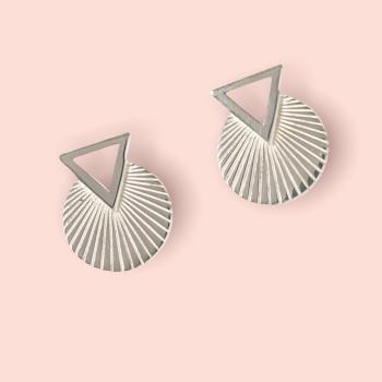 Geo Deco Silver Earrings