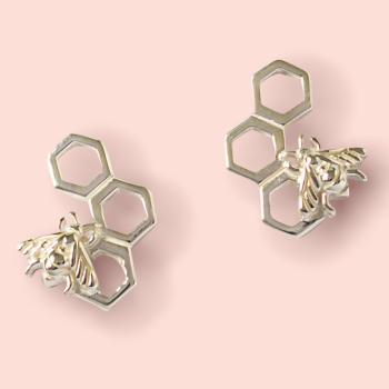 Silver Bumble Bee Earrings