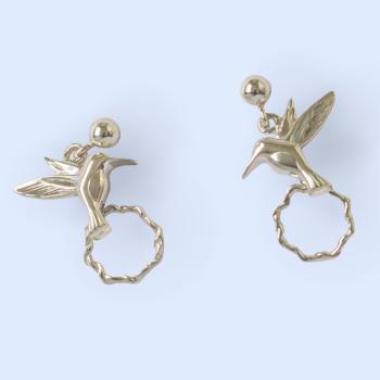 Silver Humming Bird Earrings