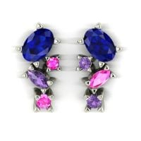 Atlantis Earrings - Rainbow Sapphire - White Gold