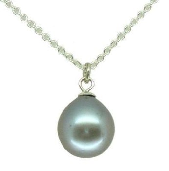 Single and simple modern pearl pendant in Grey (es)