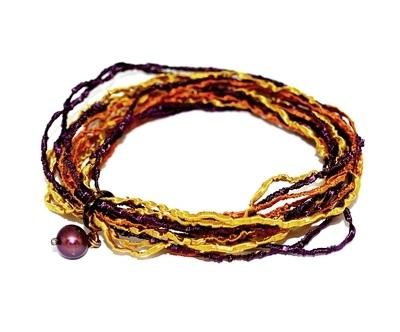 Purple, Orange and Gold Bracelet