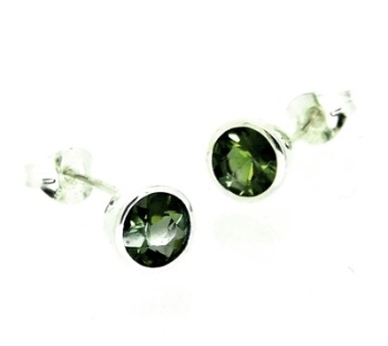 Green Tourmaline Earrings, set in silver