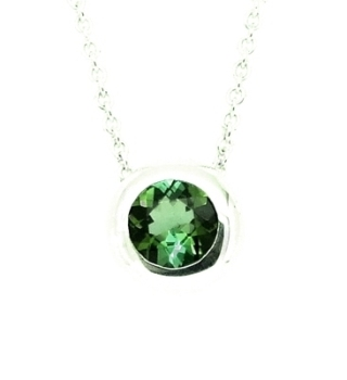 Green Tourmaline Silver Necklace