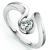 Unusual contemporary brilliant cut wave diamond engagement ring by jewellery designer Hans Rivoir
