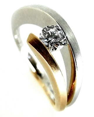 Contemporary Rose and White Gold Diamond Engagement Ring