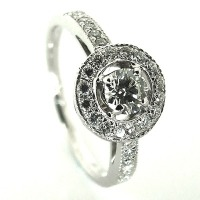 Ornate Circle Diamond Engagement Ring