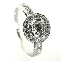 Ornate Circle Diamond Engagement Ring