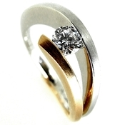 Contemporary Tension Set Diamond Ring, unusual engagement ring by jewellery designer Hans Rivoir
