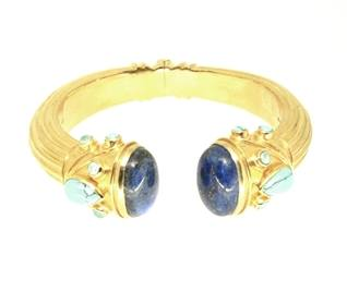 Lapis and Turquoise Goddess Bangle