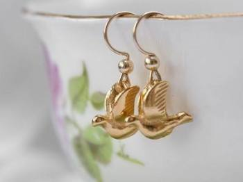 Gold Bird Earrings:  50% OFF, WAS £84.00