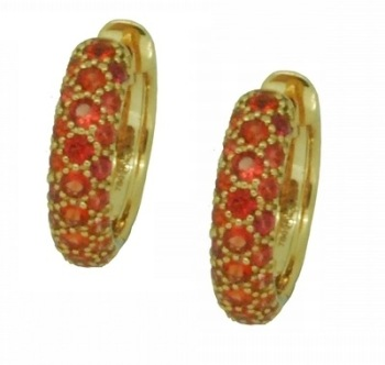 Orange Sapphire Hoop Earrings
