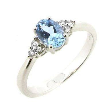 Aqua and Diamond shoulder ring