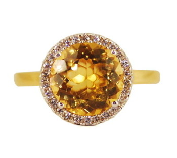 Round Citrine and Diamond Ring