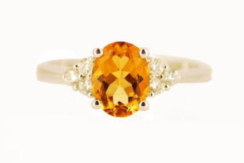 Oval Citrine and Diamond Engagement Ring