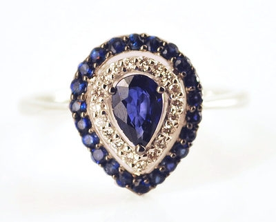 Tear Drop Deco Sapphire Engagement Ring