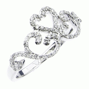 Ornate Heart Diamond Ring