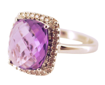 Amethyst Gemstone and Diamond Cocktail Ring