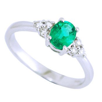 Emerald & 6 Stone Diamond Engagement Ring