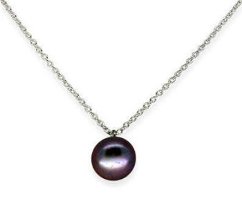 Dainty single black pearl pendant (sm)
