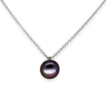 Large single black pearl pendant
