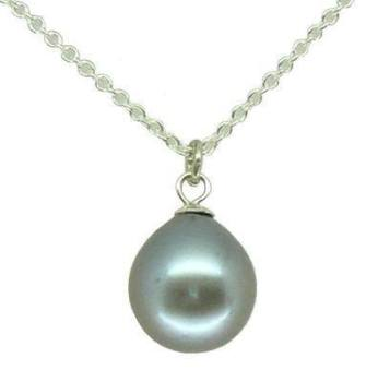 Small single silver grey pearl pendant (sm)