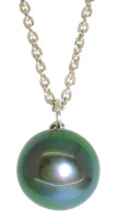 Green Hue Single Black Pearl Pendant - 11 - 12mm