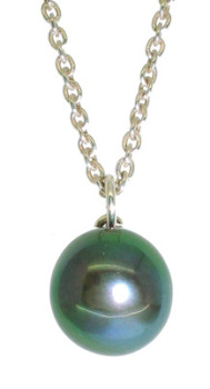Pearl Pendant - Single Pearl in Black Peacock Green (small)