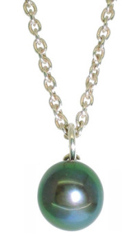 Dainty Single Black Pearl Pendant (es)
