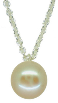 White pearl pendant on a delicate silver chain. (md)