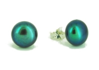 Black Peacock Green Pearl Studs 9-10mm