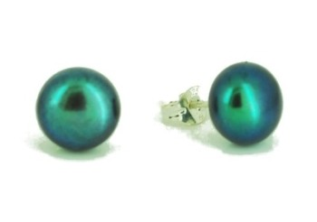 Black Peacock Green Cultured Pearl Studs 7-8 mm
