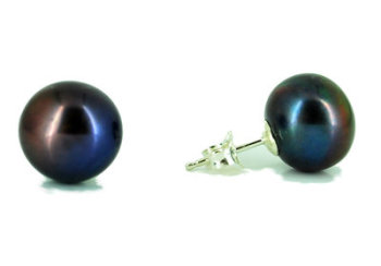 Black Peacock Pearl Studs with silver backs 5-6mm