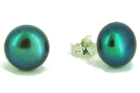 Black Peacock Green Pearl Studs 11-12mm