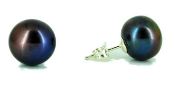 Black Peacock Purple Pearl Studs (small)