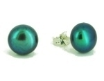 Black Peacock Green Pearl Studs (extra small)