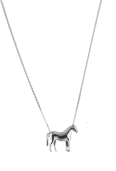 White Gold Standing Horse Necklace